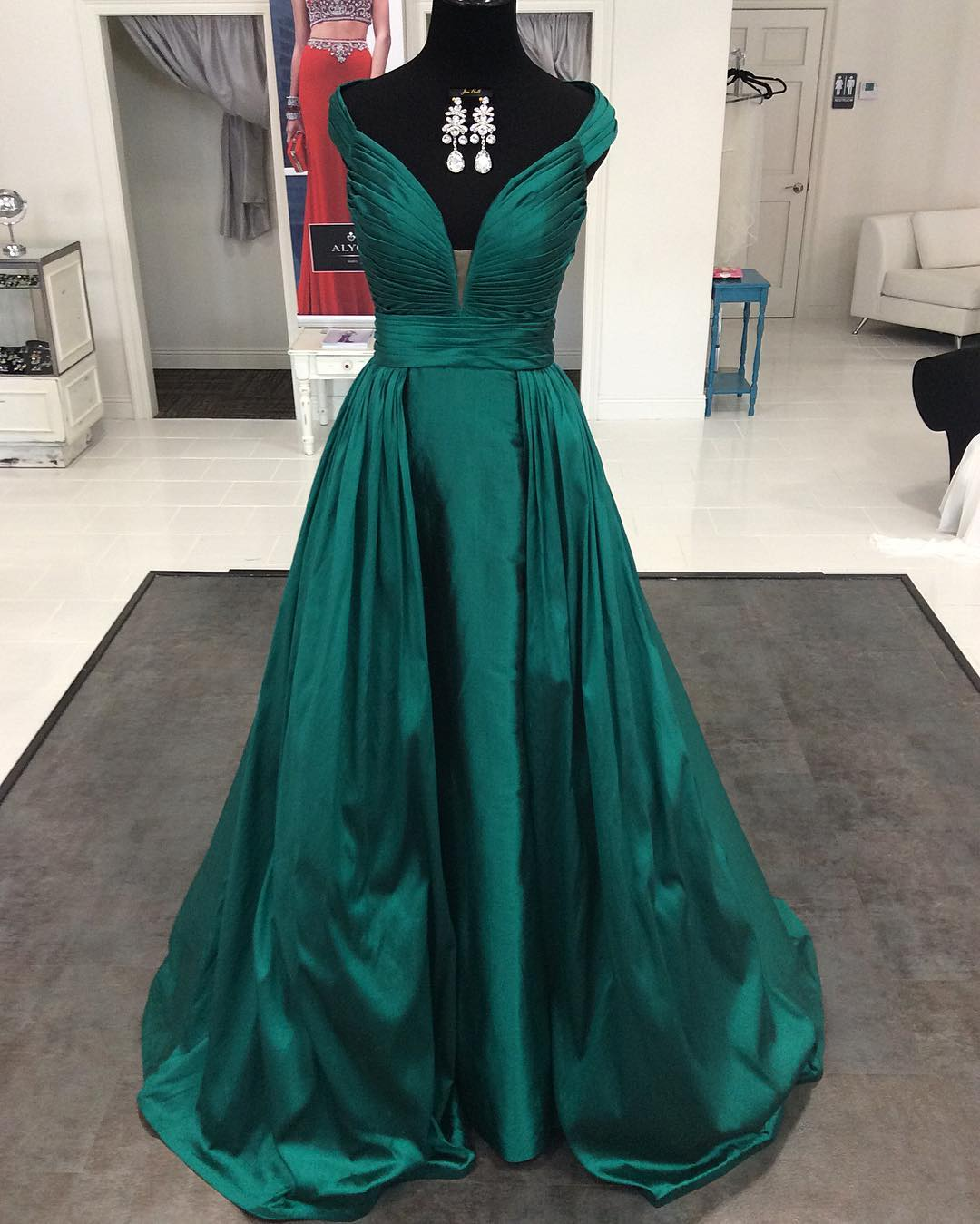 06edfc004da948 Emerald Green Satin Long Dark Green Formal Evening/Prom Dresses on Storenvy