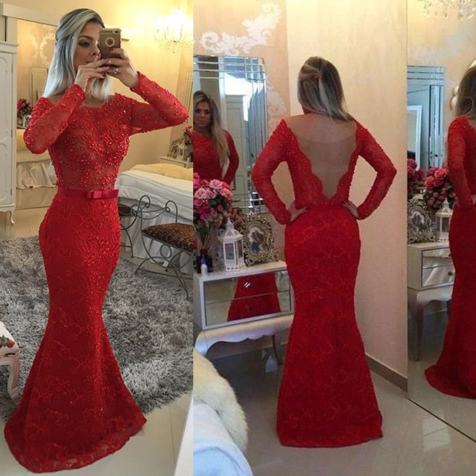 0790adbec7 Red prom dress with beaded long sleeves sexy v back prom dresses lace  mermaid prom dress