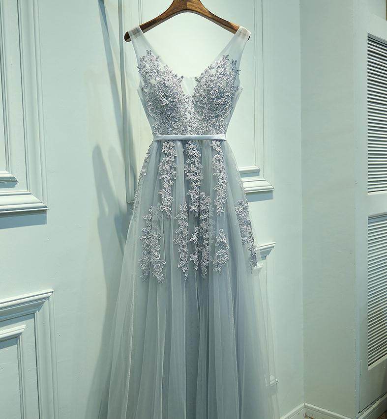ef47f65b8a9 Tulle Long Prom Dresses, V Neckline Grey prom dress,Custom Cheap prom  dresses, 2017 prom dresses,lace prom dress,bridesmaid dress from SheDress