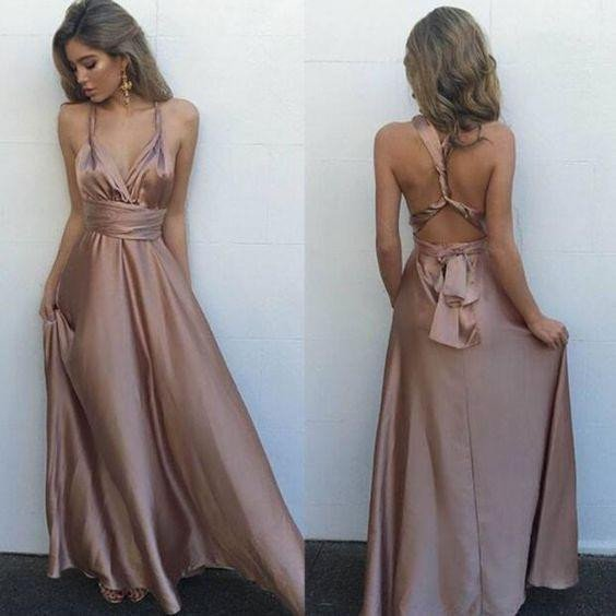 c8a96e79621 Deep V Neckline Chiffon Evening Prom dress