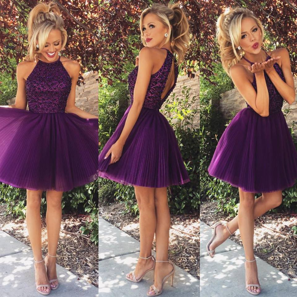 Sexy Purple Short Beading Backless Halter Homecoming Dresses ... 83cd1ad4c776