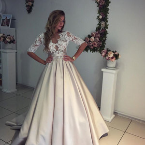 Champagne satin lace long prom dress