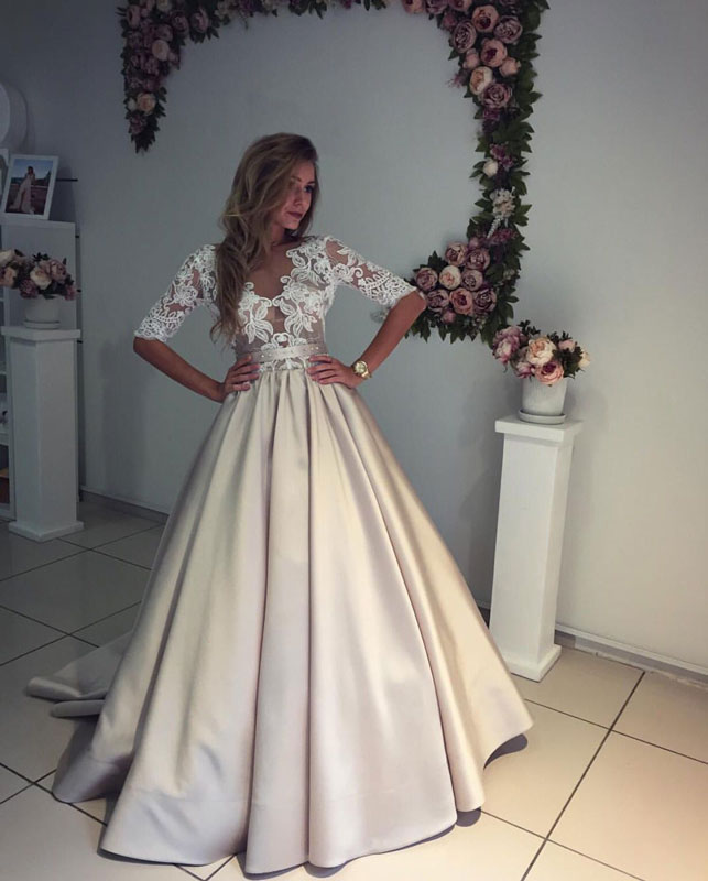 Champagne satin lace long prom dress,champagne evening dresses ...
