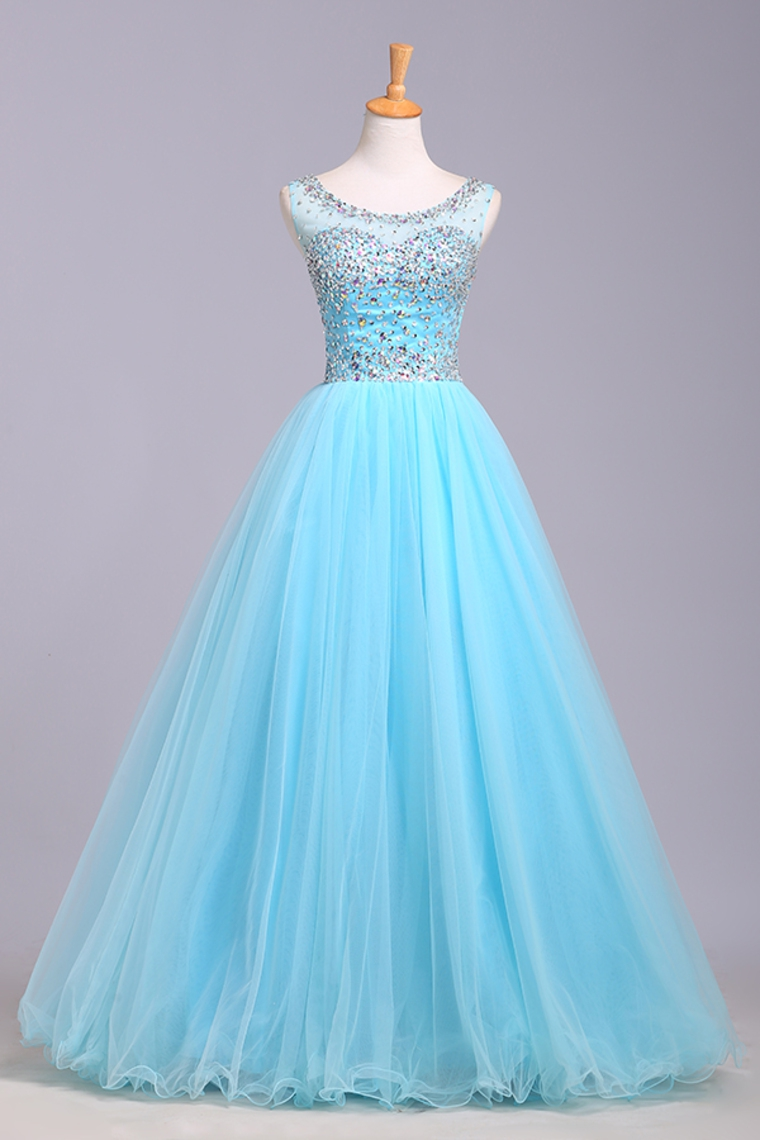 Ice Blue Ball Gowns Prom Dresses,Cap Sleeves Prom Dress,Quinceanera ...