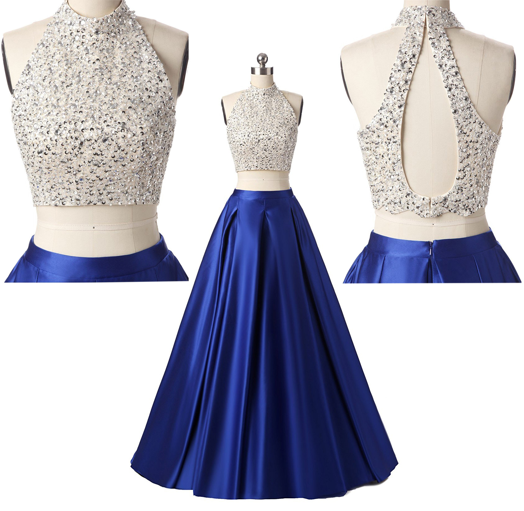 Royal Blue Two piece prom dress,high neck prom dress,evening dress,prom  dress,prom dresses long,2017 prom dresses,two piece prom dress plus size  sold ...