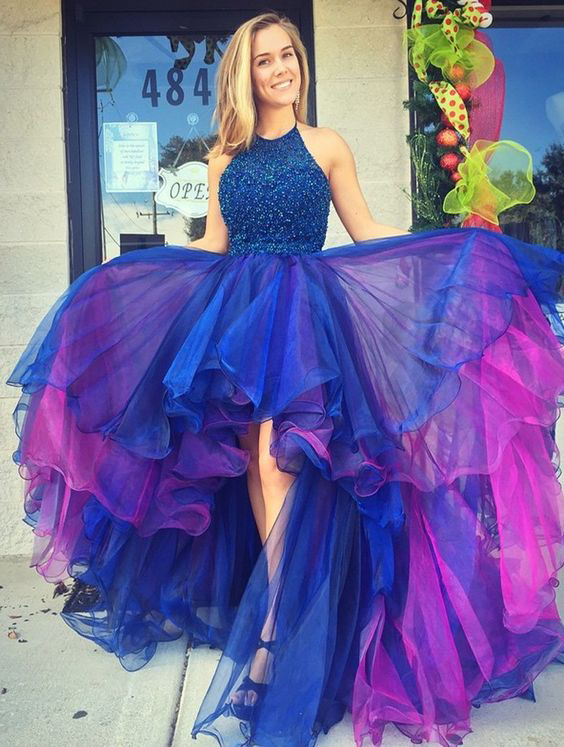 Cute High Low Blue Prom Dress, Royal Blue Prom Dress, Ball Gown Prom ...