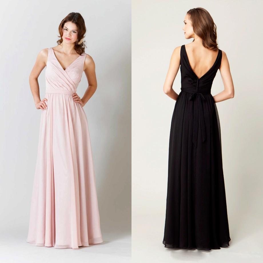 A Line V Neck Chiffon Bridesmaid Dresses Long Bridesmaid Dresses