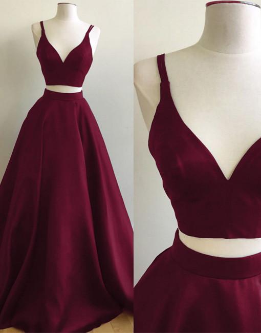 285c21ff3ba Simple A-Line Two-Piece V-Neck Burgundy Long Prom Evening Dress