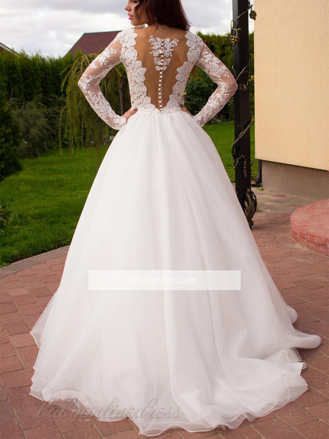Elegant Long Sleeves White Lace Appliques Wedding Dress ...
