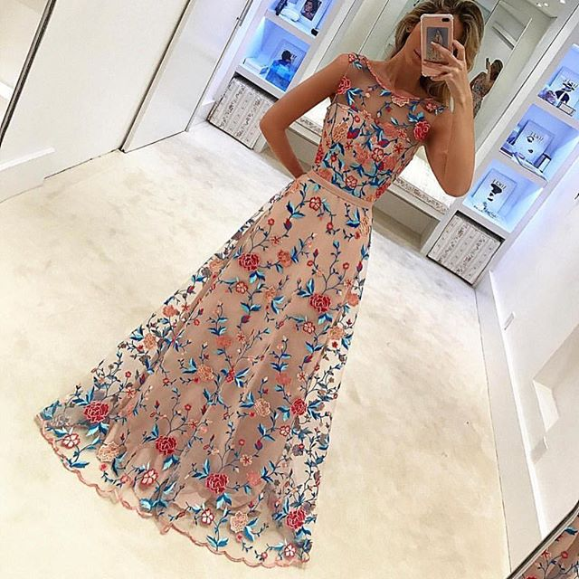 ba73b2f1a29 Gorgeous Special A-line Scoop Embroidery Long Prom Dress ...