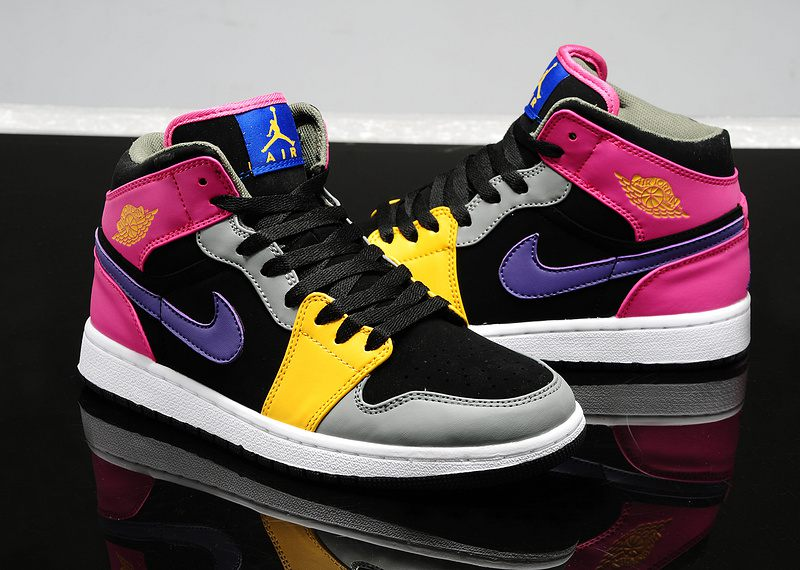 designer fashion 0a28b 00d51 top quality nike air jordan 1 womens purple pink black grey yellow  thumbnail 78e38 f5f0f