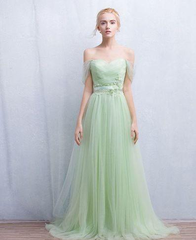 Mint Green Tulle Prom Dress,Long Prom Dresses,Cheap Prom Dresses ...