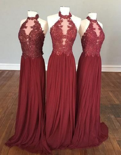 Halter High Neck Burgundy Bridesmaid Dresses Chiffon