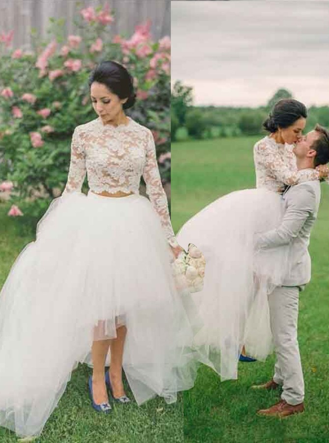 Sexy Two Pieces Wedding Dresses 2017 Sheer Crew Bridal