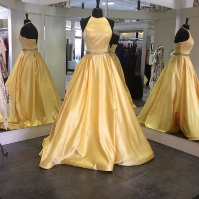 D176 Halter Long Prom Gowns, Ball Gown