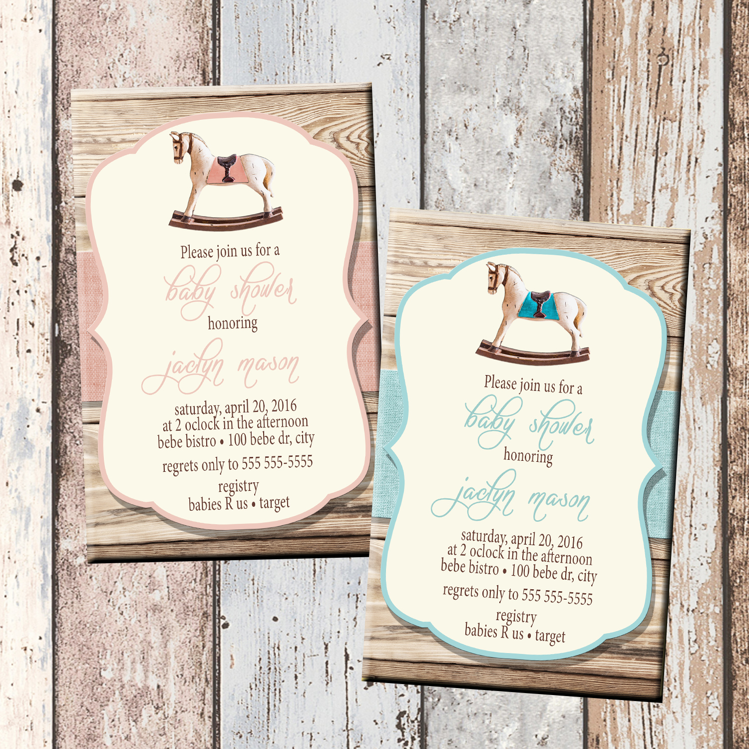 Rockin Horse Baby Shower Invitation 1 Sided Scg Designs