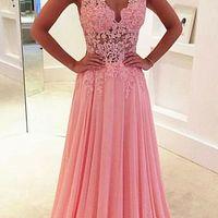 ca623edf38 Lace V-neck see-through long chiffon prom dress Blush Pink Vintage Lace  Classic ...