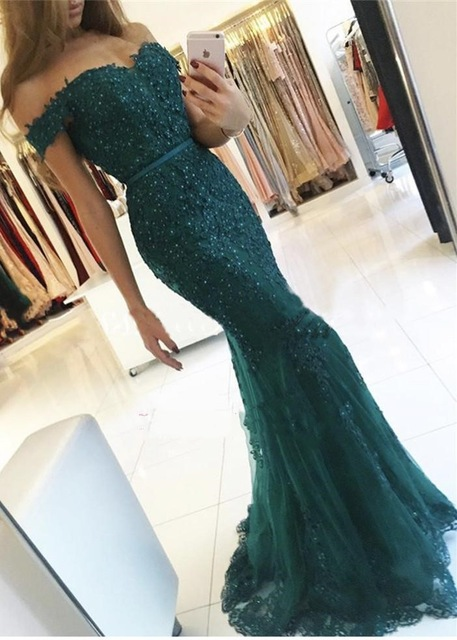 Green Formal Evening Dresses with Sleeves