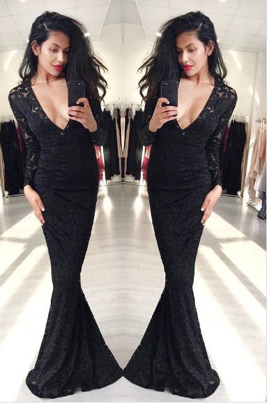 8ba6e2fe36bd Mermaid Prom Dresses,Black Prom Dress,Long Sleeve Prom Dress ...