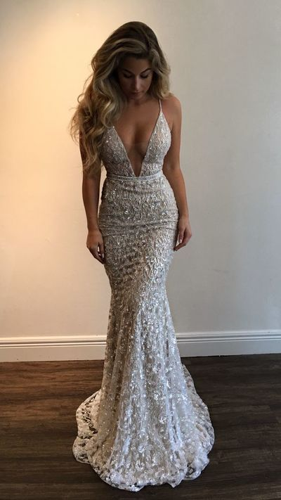 Sexy V Neck Mermaid Prom Dresses Beading Evening Dresses