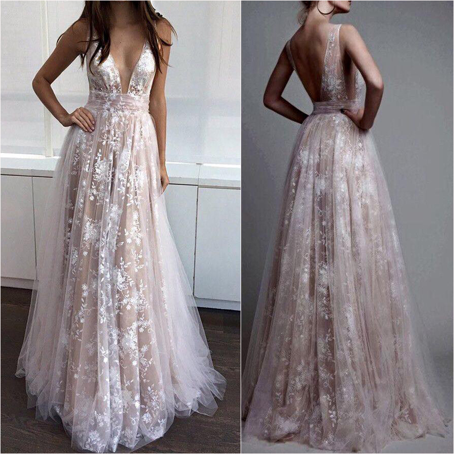 Deep V Neck Nude Line White Lace Prom Dresses Long Formal