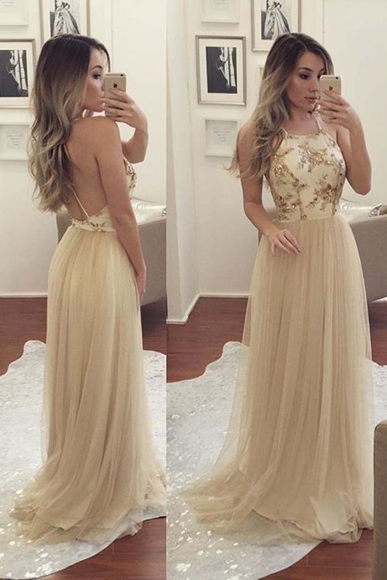 Beautiful creamy lace tulle prom dress, ball gown, backless formal ...