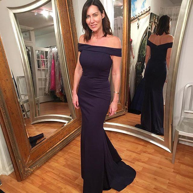 8c11a4d5870 Dark Navy Prom Dress 2017,Sheath/Column Off-the-shoulder Floor ...