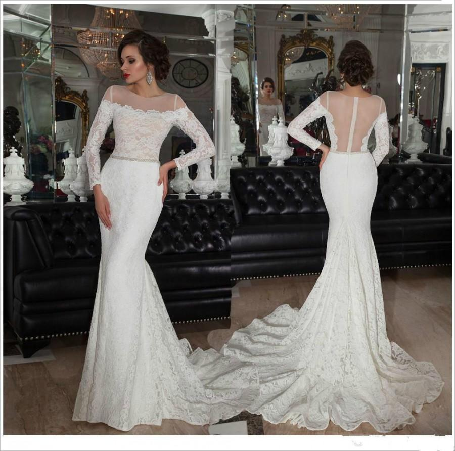 Vintage Mermaid Long Sleeves Lace Wedding Dress with Beaded Belt ...