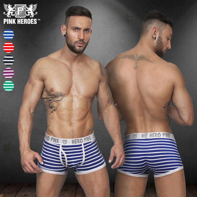 c8d96bd84b Pink Hero stripe Cotton Sexy Mens Boxer Brief Underwear - Thumbnail 1