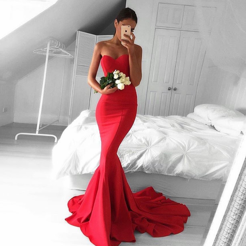 Red Sweetheart Satin Mermaid Prom Dress Formal Gown With Sweep