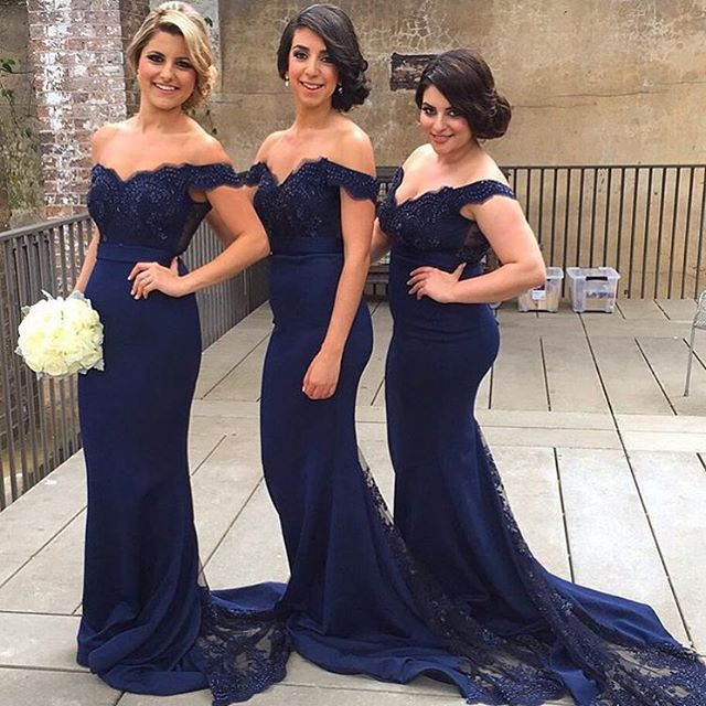 Navy Tail Dress Wedding   Navy Long Lace Appliqued Top Off Shoulder Sheer Lace Tail Bridesmaid