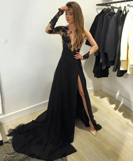 Am190 Fashion A Line Long Sleeves Black Long Prom Dress With Side
