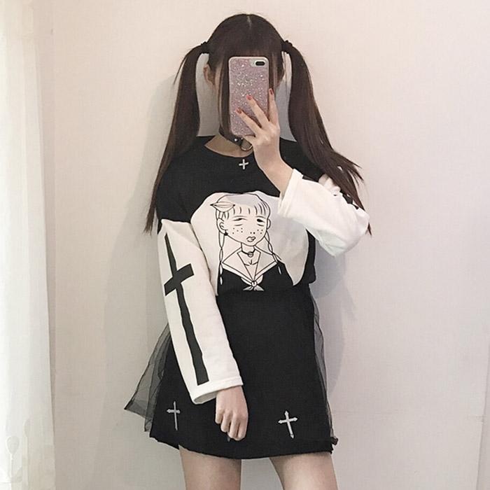 19266f3eb38a8f Harajuku Black White Cross Shirt Suit Net A-Line Skirt MG382 · Mori ...