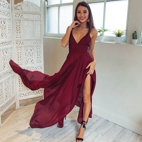 e1c0f05ba89 Simple burgundy chiffon long prom dress