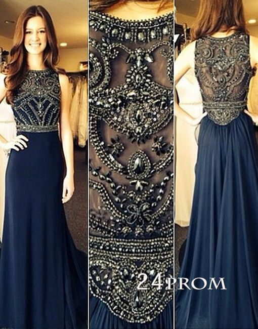 Dark Blue Chiffon A Line Beaded Long Prom Dresses Evening Dresses