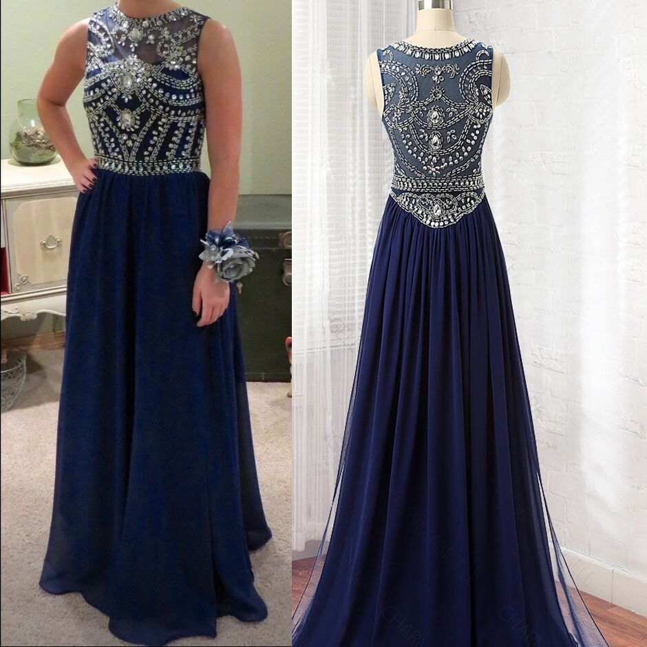 ec6b4ed2b2 Navy Blue Chiffon Illusion High Neck Rhinestone Beaded Top Long Prom Dress  from Queenparty