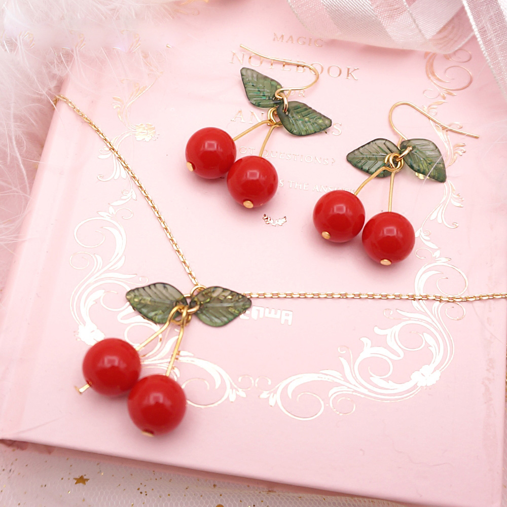 1f9666f44c7295 Lolita Cute Cherry Earrings Necklace Sweet Beauty Jewelry DC198 ...