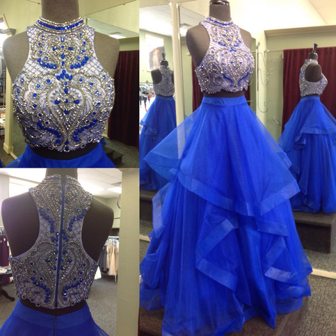 Two Piece Prom Dresses Beaded Bodice Royal Blue Skirt 2017