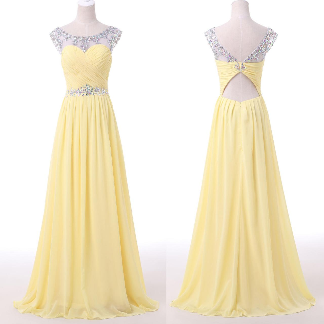 Light Yellow Long Prom Dress, Evening Dress, Party Dress,MB 313 · Ms ...