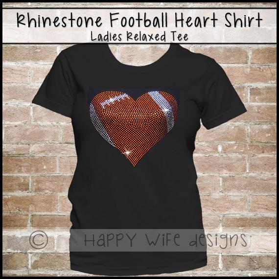 38651418b7 Football Mom Shirt - Rhinestone Football Mom Shirt - Football Jersey -  Football Bling Tee Shirt - Rhinestone Football Heart Design from Happy Wife  ...