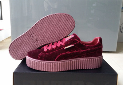654e00fafd6cd5 Fenty by Rihanna Women s Velvet Burgundy Creeper Fashion Casual sneaker