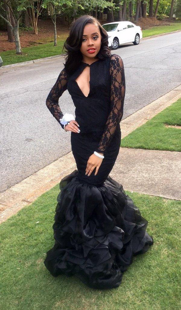 c889d295dee Black Girl Prom Dress Sexy Backless Black Long Mermaid Prom Dresses 2017  Floor Length Ruffles Lace Long Sleeve Prom Dress on Storenvy