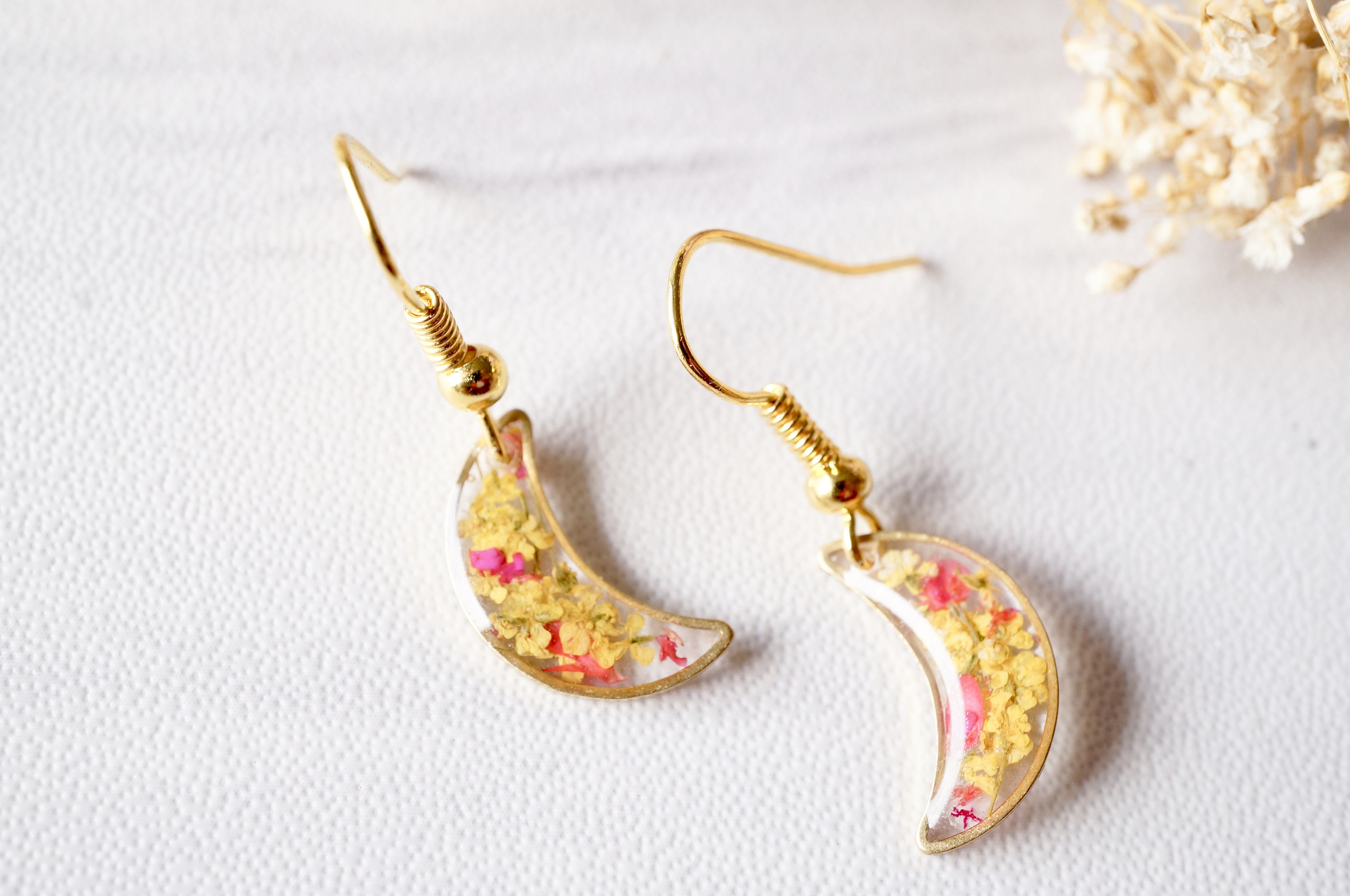 a1c21c3d6 Real Dried Flowers and Resin Earrings, Gold Moons in Yellow and Red ...