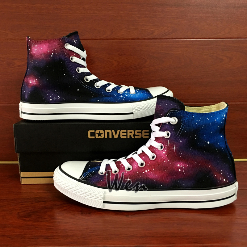 eabbf2bd86 Galaxy Original Design Hand Painted Shoes Custom Converse Chuck Taylor High  Top Canvas Shoes for Men Women's Sneakers Unique Gifts