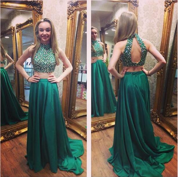 351d5563f4e XP177 Green Satin Halter Crystal Two Piece Prom Dress With Beaded ...