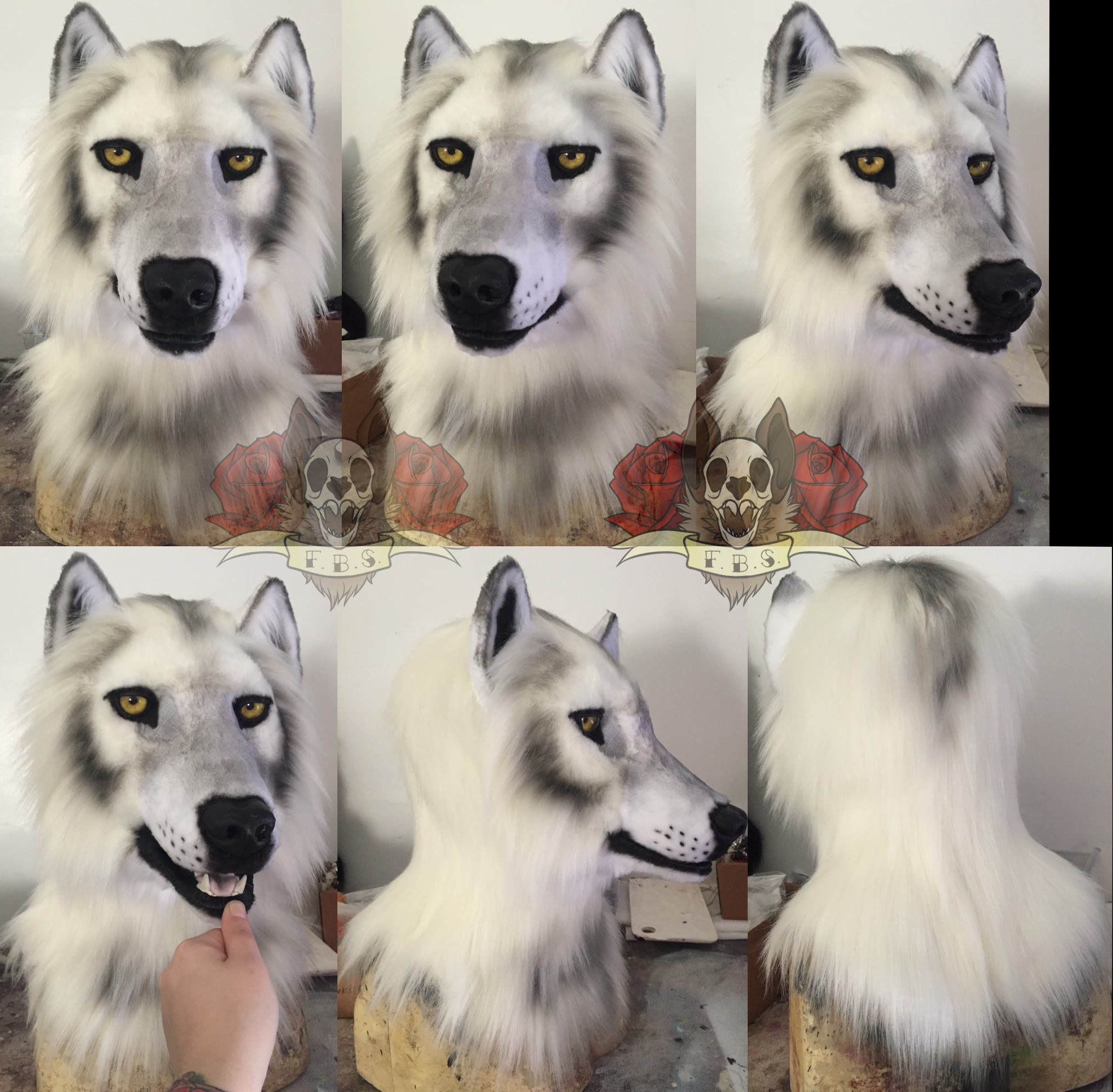 White wolf head (yellow eyes) on Storenvy