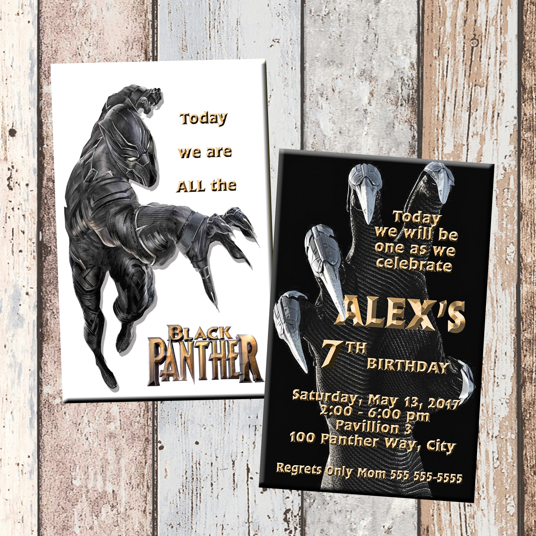 Panther superhero personalized birthday invitation 2 sided birthday black panther demo original filmwisefo