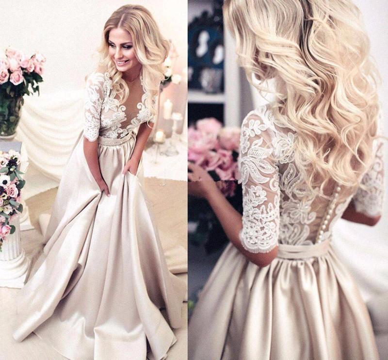 214a14a9492 Elegant Champagne A-Line Long Evening Dress Vintage Lace Muslim Robe De  Soiree Custom Cheap
