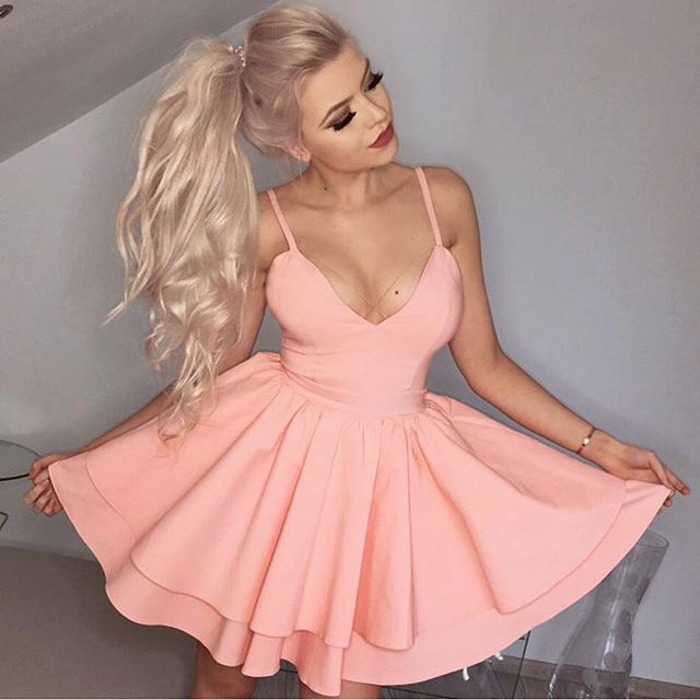 99f3d7ae72c81 Simple pink v neck satin short prom dress, pink homecoming dress