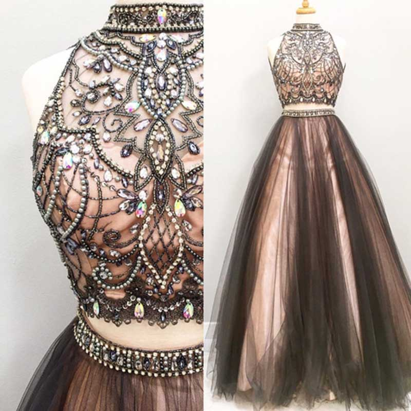 99b561aafb High Neckline Two Pieces Brown Prom Dress Long with Beading on Storenvy